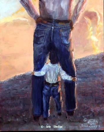 """""""Blue Jeans at Sunset"""" """"Blue Jeans at Sunset""""  Western Paintings  Cowboy Poetry"""