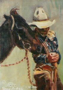 """Fenced In"" Original Oil 5"" X 7 "" ""Fenced In""  Western Paintings  Cowboy Poetry"