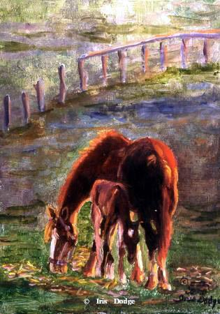 """""""Mare and Baby"""" """"Mare and Baby"""" Original  Sold  Wildlife Paintings  Wild Things Art"""